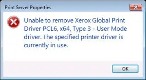 'Unable to remove Print driver. The specified printer driver is currently in use.'