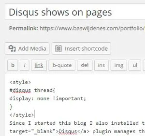 Let's remove Disqus from your WordPress pages.