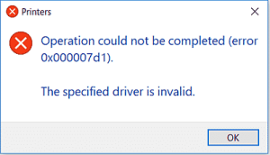 """Operation could not be completed (error 0x000007d1).  The specified driver is invalid."""""""
