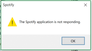 The Spotify application is not responding.