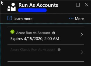 The certificate for the Classic Run As account has expired. Click here to renew the certificate(s).