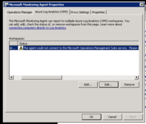 """FIX: """"The agent could not connect to the Microsoft Operations Management Suite service. Please check that the system either has internet access, or that a valid HTTP proxy has been configured for the agent."""""""
