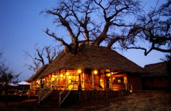 Treetop Tented Camp Tarangire the main lodge at night