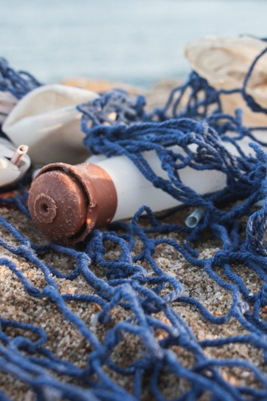 Image of plastic waste in fishing net