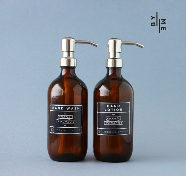 chrome soap pump with amber glass bottle black decals