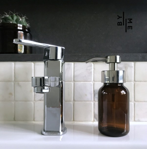 Glass foaming soap dispenser with chrome pump
