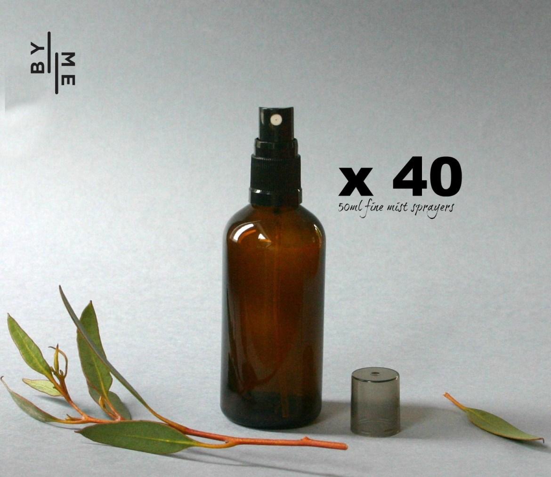 100ml Amber Glass Spray bottles with black fine mist sprayer (BULK 35 PACK – FREE SHIPPING)