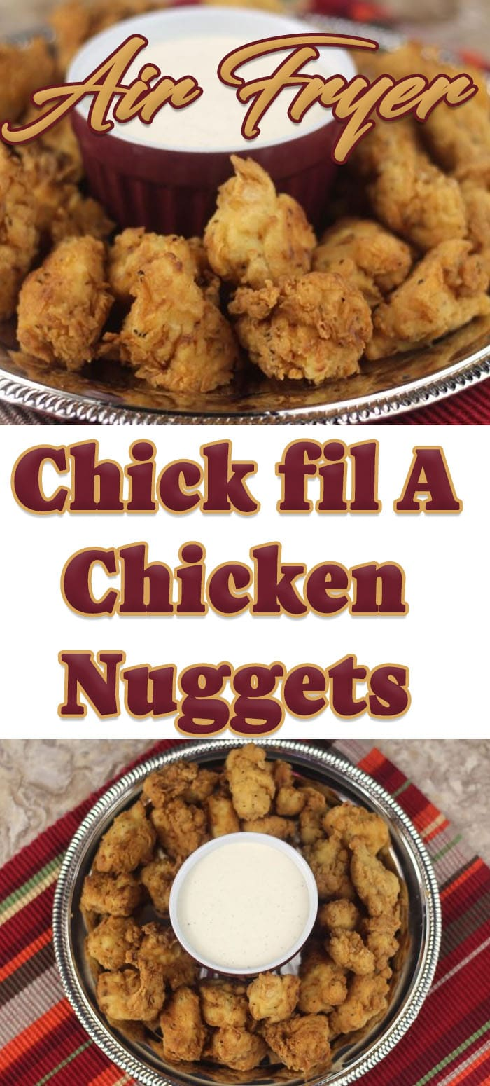 Collage of homemade chick fil a nuggets