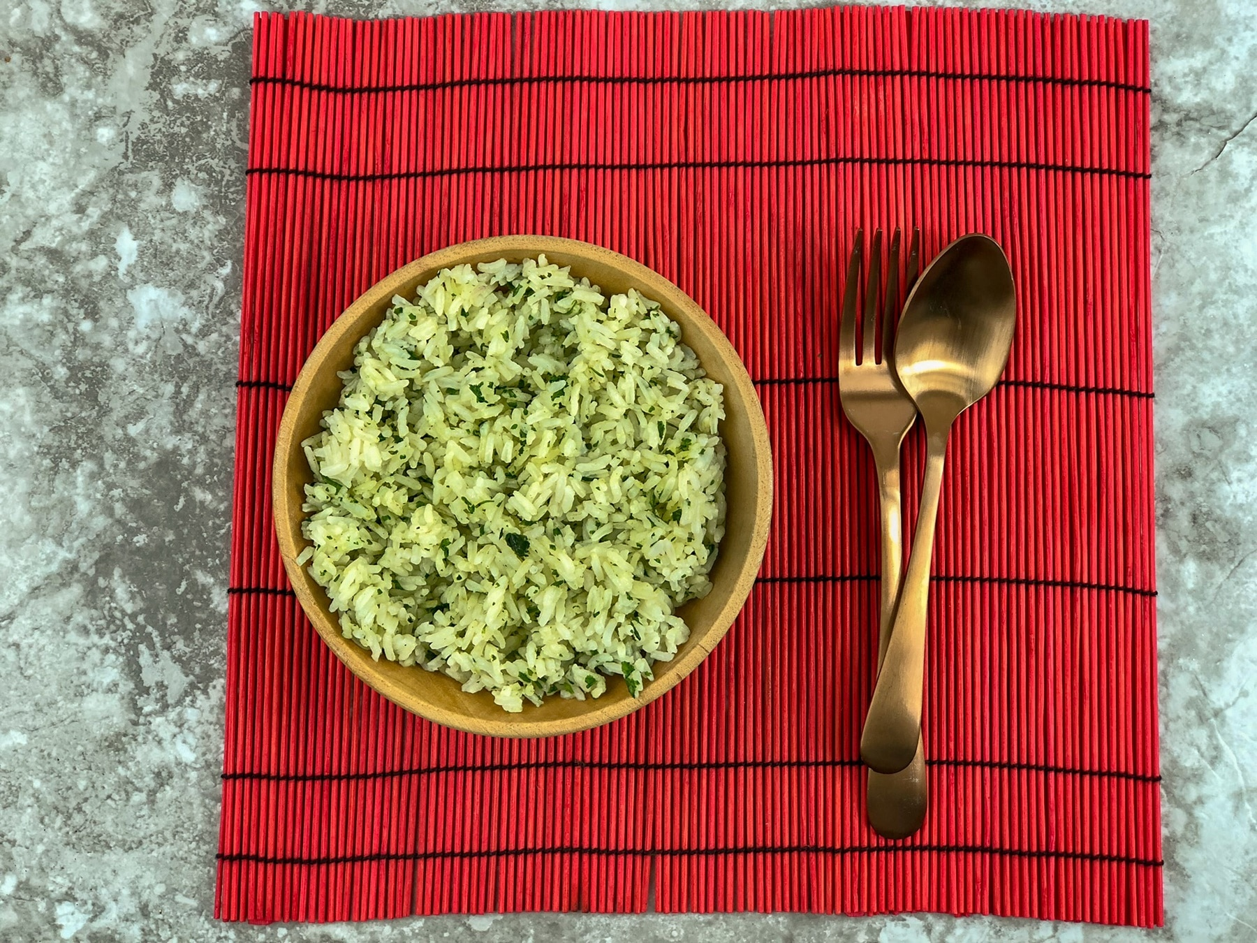 Cilantro Lime Rice On A Red Placemat.