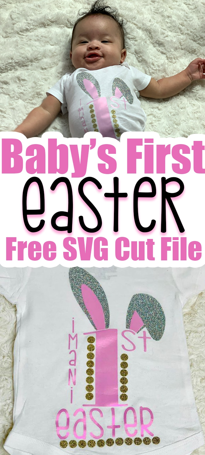 Looking for ideas for the baby's first easter basket, and you own a Cricut then this post is especially for you. This onesie is easy to make and cute! #cricut #cricutmade #glitter #svg #svgfile #silhouette #silhouettecameo #diy #diycrafts