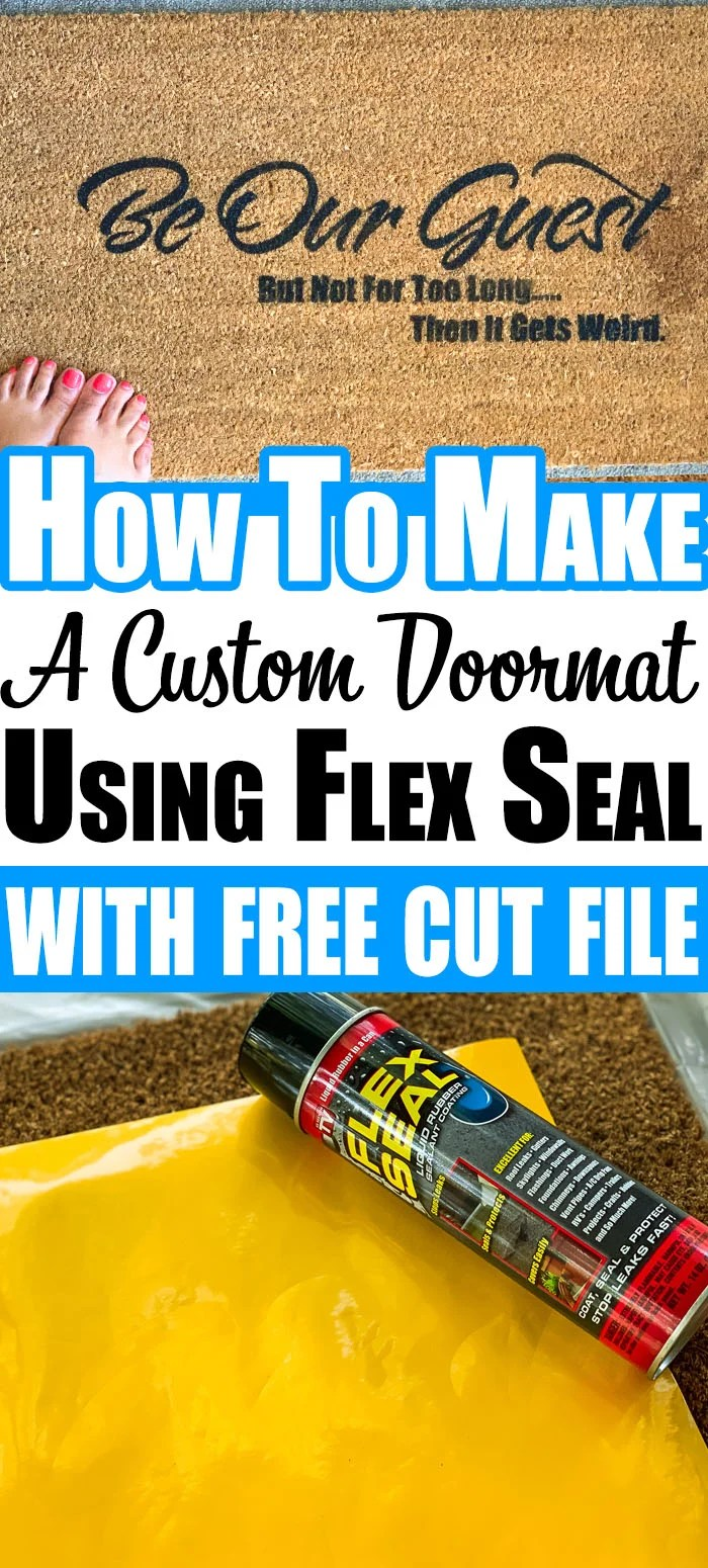 Learn how to create a stencil using adhesive vinyl and how to use Flex Seal instead of outdoor paint to create a custom DIY Doormat plus a free SVG file. #cricut #diydoormat