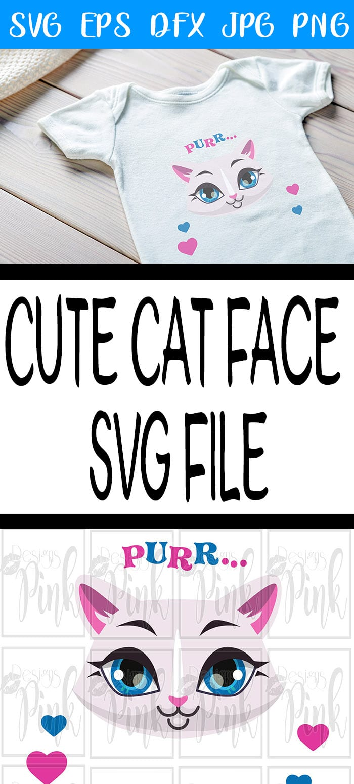 Cute Cat face SVG comes as a zip file containing SVG, DFX, EPS, PNG and JPG. This file can be used both personally and for small business commercial use.