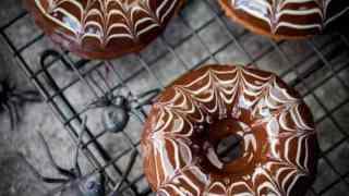 Halloween Spider Web Doughnuts