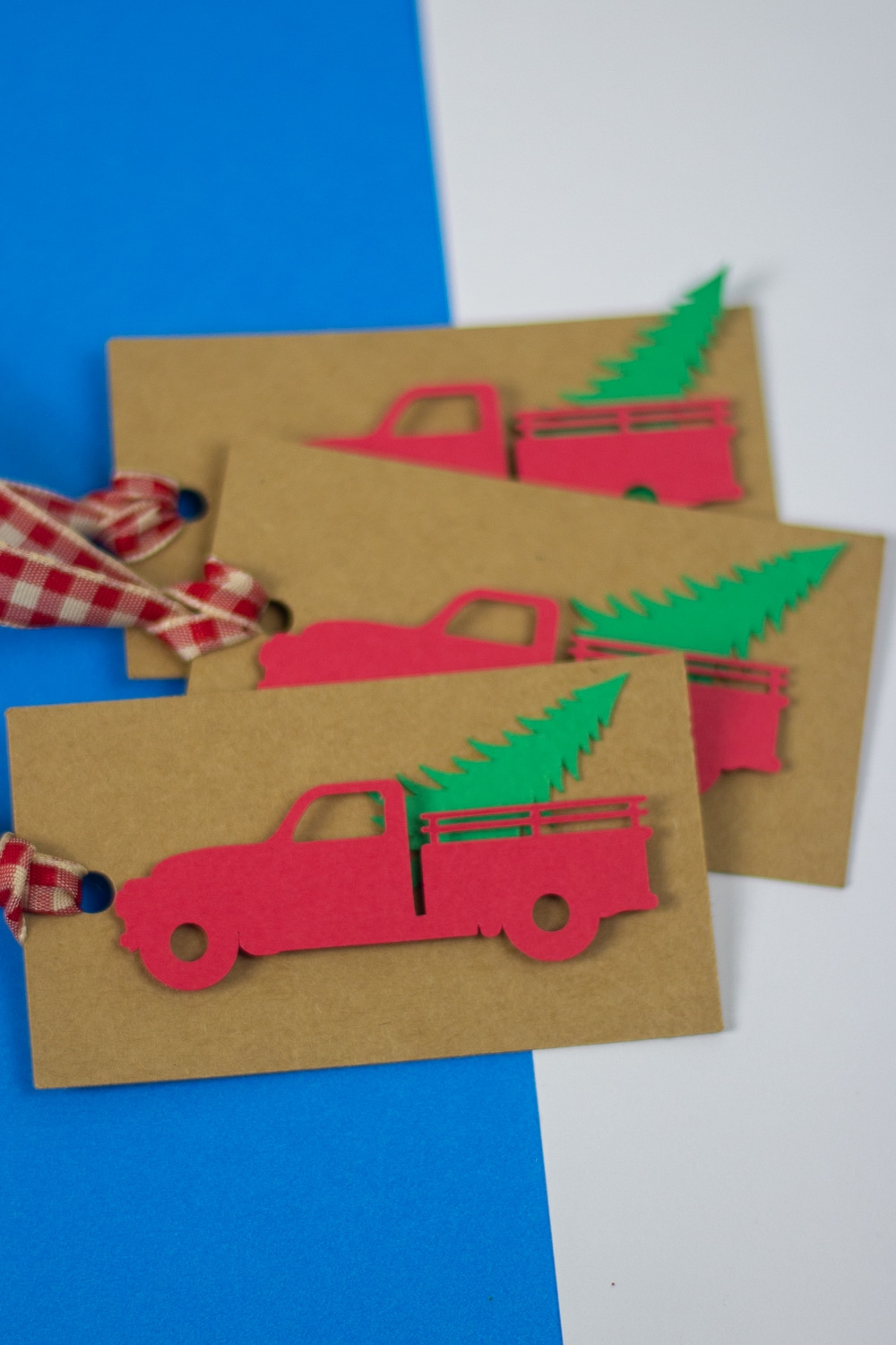 An image of Red Truck Christmas Tags for Presents.