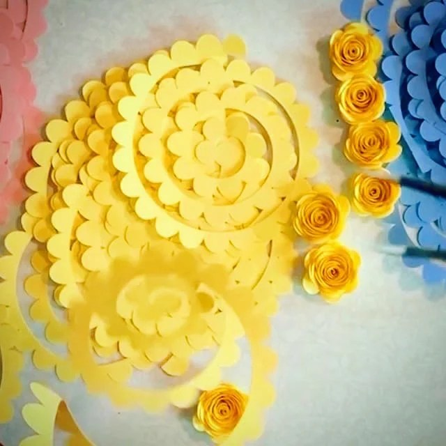 yellow flowers made with free paper flower template
