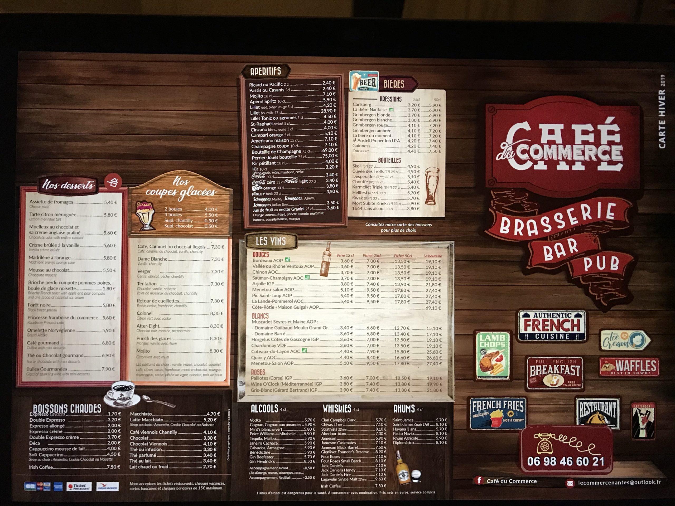Braserie carte menu