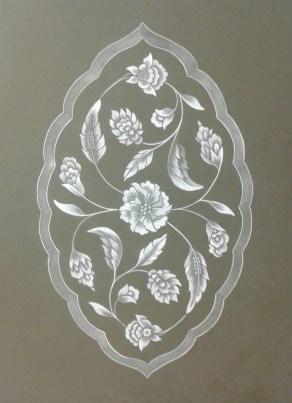 Finished Islimi design in gouache