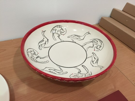 Hand painted bird bowl