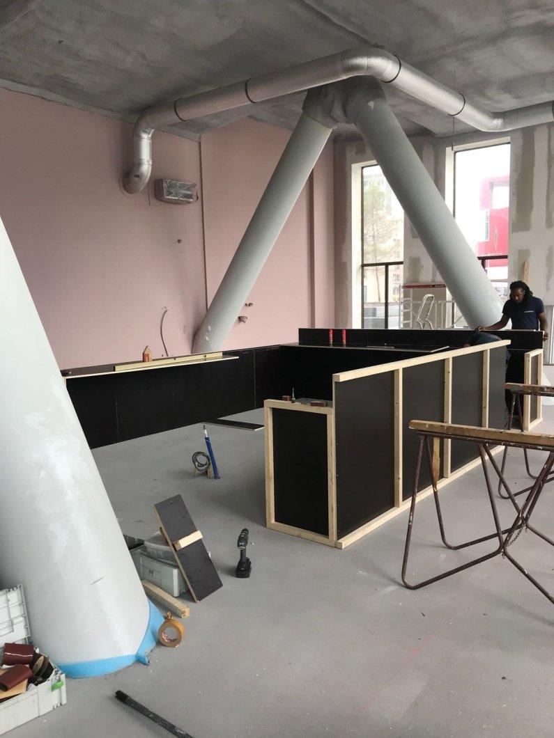 Woodwork under construction