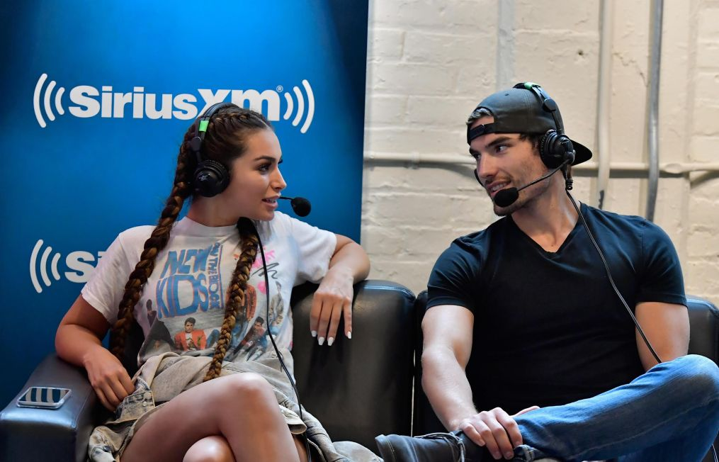 BOSTON, MA - JULY 08:  Ashley Iaconetti and Jared Haibon on the set as Jenny McCarthy hosts her SiriusXM Show backstage at Fenway Park in Boston before The New Kids On The Block Sold Out Hometown Concert at Fenway Park on July 8, 2017 in Boston, Massachusetts.  (Photo by Paul Marotta/Getty Images for SiriusXM)