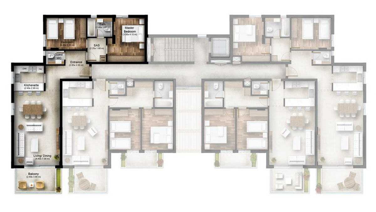 Apartment for Sale Bmahrain Jbeil Type 1 A14 Second floor Area 120Sqm and Roof Terracce 70Sqm