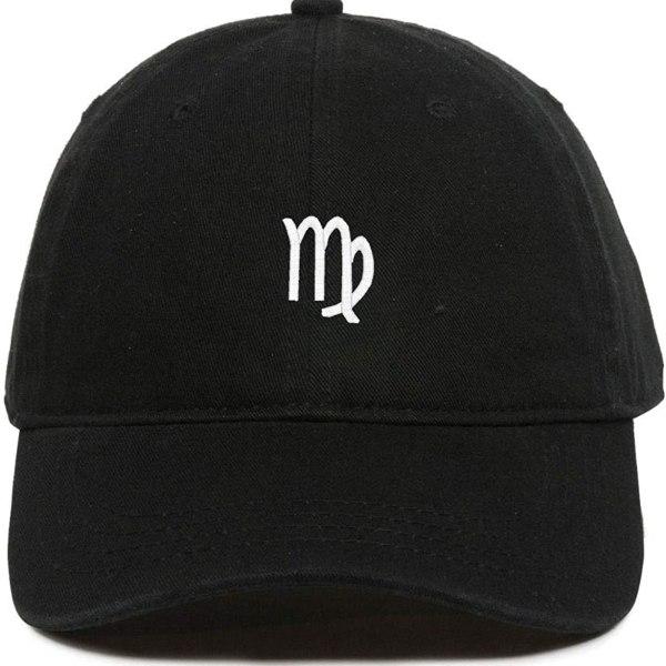 Virgo Zodiac Baseball Cap Embroidered Dad Hat Cotton Adjustable Black