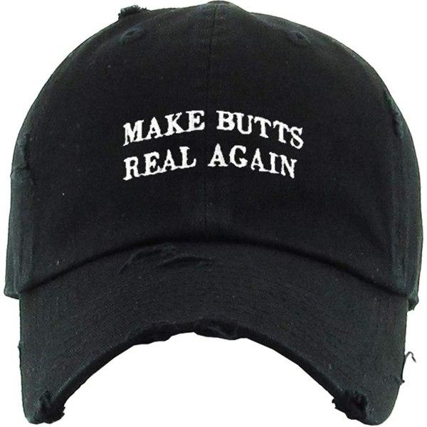 Make Butts Real Again Baseball Cap Embroidered Vintage Dad Hat Cotton Adjustable Black