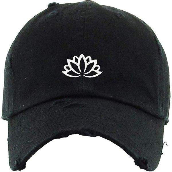 Lotus Flower Baseball Cap Embroidered Vintage Dad Hat Cotton Adjustable Black