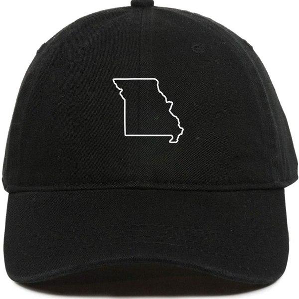 Missouri Map Outline Baseball Cap Embroidered Dad Hat Cotton Adjustable Black