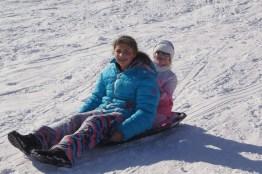 Girls on sled