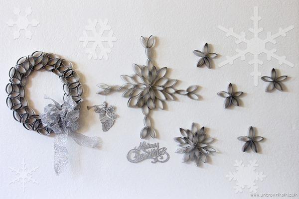 DIY toilet paper roll snowflakes