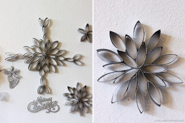 Snowflake crafts out of toilet paper rolls