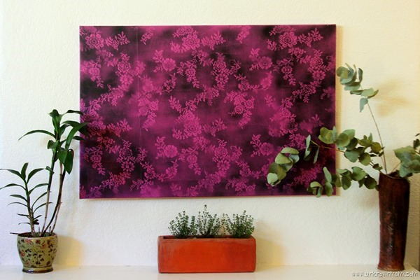 Spray paint art with lace