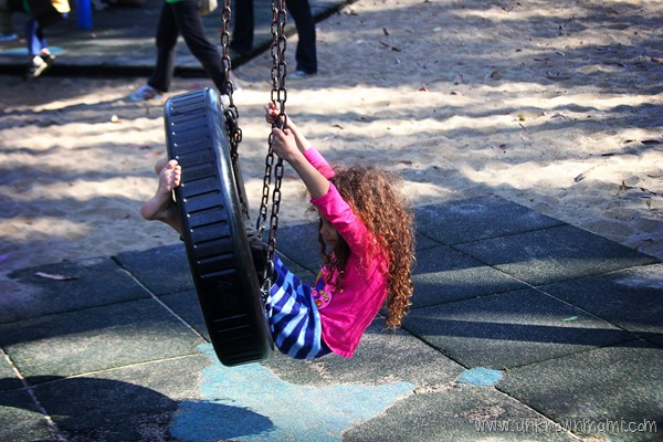 Tire swing in the park