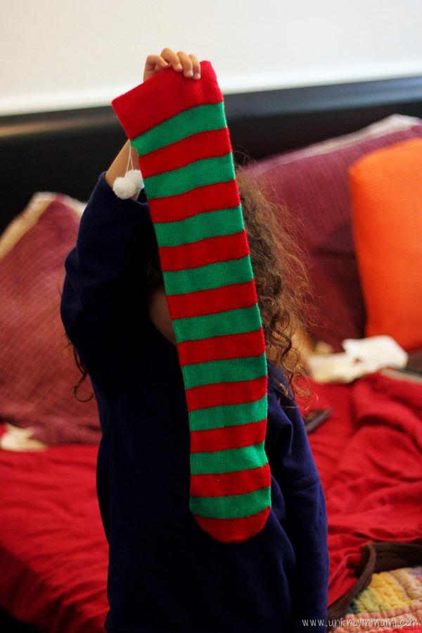 Striped Christmas stocking