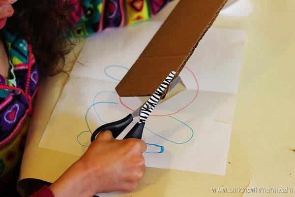 Child making art