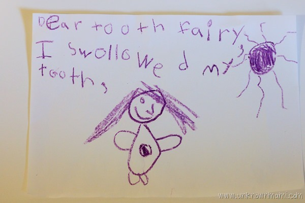 Note for tooth fairy