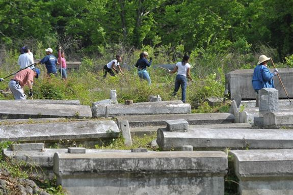 What the cemetery looked like when we started working.