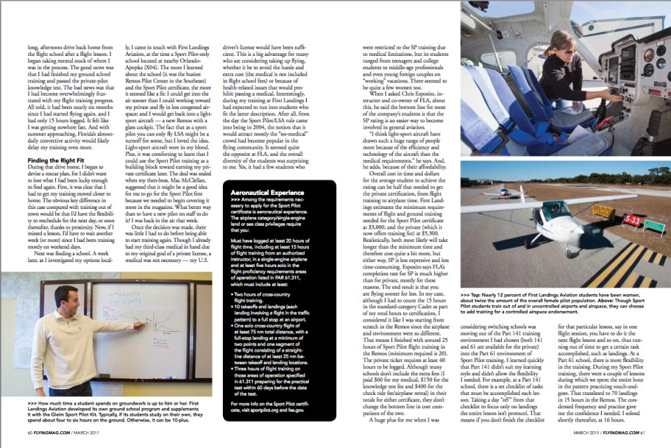 Flying Magazine Feature For the Joy of It Sport Pilot Certificate By Connie Sue White Spread 2