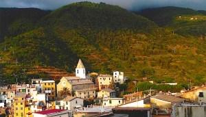Cornigilia town view from hotel.
