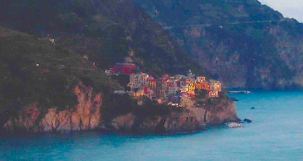 Manarola sunrise from hotel balcony