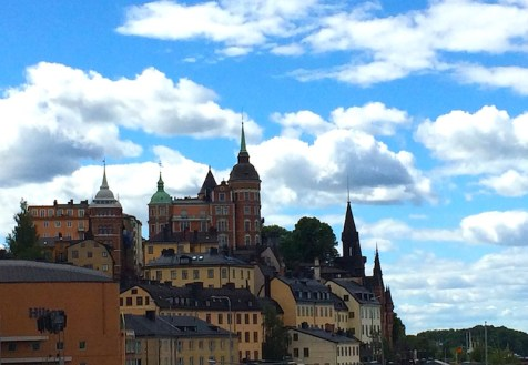 A view of interesting archictecture along Soder Malarstrand, taken from Susseplan, Stockholm, Sweden. By C.S. White