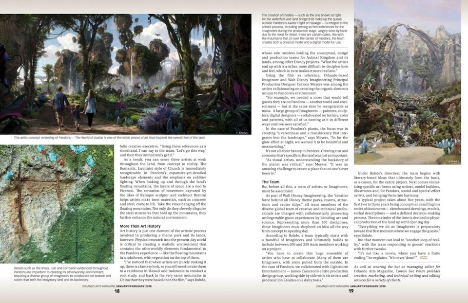 Orlando Arts Magazine Feature Story From Sketch to Reality Highlights Artistry of Disney's Pandora By Connie Sue White - Spread 1