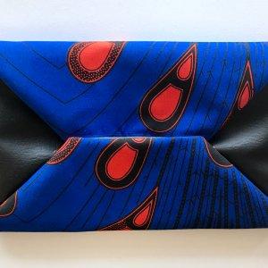 Tribal Marks by 'Dami Literal Envelope Ankara Clutch in royal blue and deep orange peacock or tear drop pattern