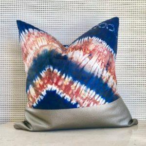 Tribal Marks by 'Dami handmade African Batik Damask Bazin Cloth ethnic Pillow Cover 18x18