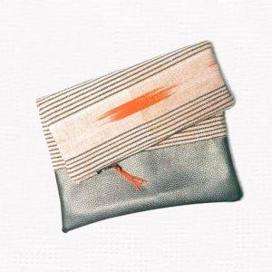 flat view - Tribal Marks by Dami Woven African Aso-Oke Ofi Cloth Fold over zipper ethnic Clutch - warm