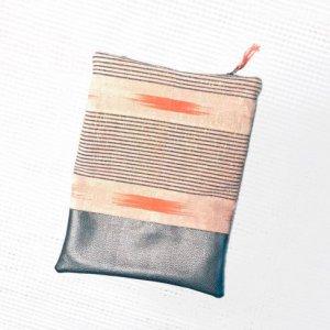 flat view - Tribal Marks by Dami Woven African Aso-Oke Ofi Cloth Fold over zipper ethnic Clutch