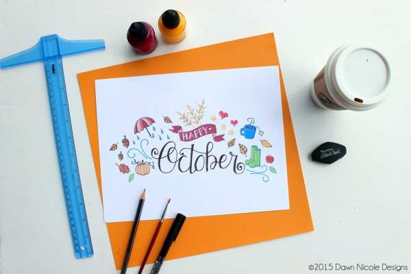 Free Print of the Week: Hand-Lettered & Illustrated October Calendar Print + Desktop Wallpaper | Dawn Nicole Designs