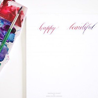 Watercolor calligraphy tutorial - Inkstruck Studio for Dawn Nicole Designs