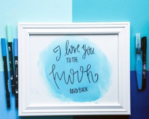 "Simple DIY ""I Love You To The Moon And Back"" Print. Such a fun way to use Tombow Markers! 